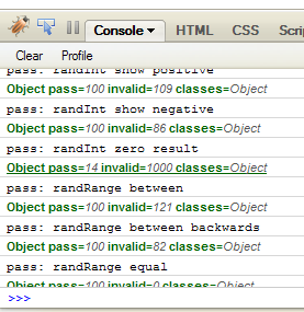 Firebug Console showing qc.js output.