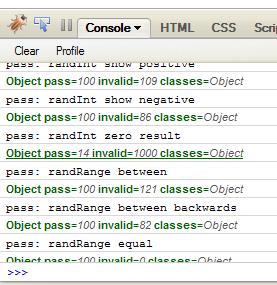 Firebug Console showing qc.js output.